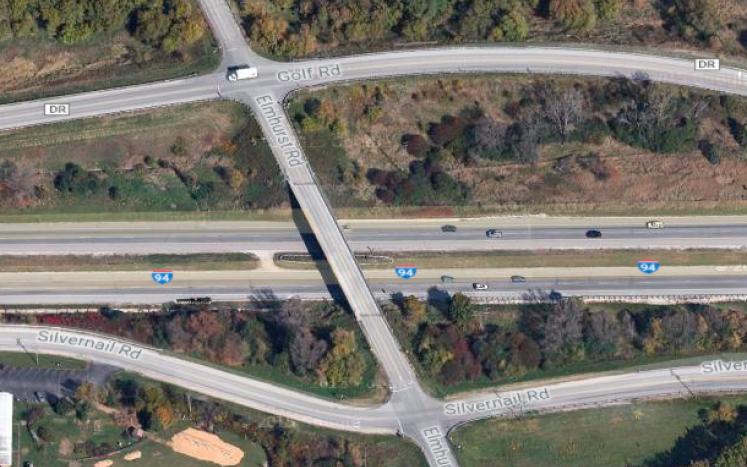 Map of Elmhurst Road bridge